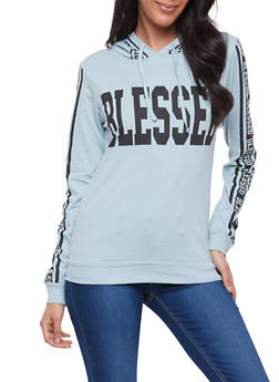 Blessed Graphic Hooded Top - 1306033878220