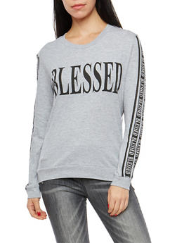 Long Sleeve Blessed Graphic Sweatshirt - 1306033878223