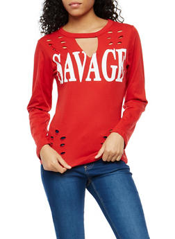 Savage Graphic Laser Cut Top - 1306033879076