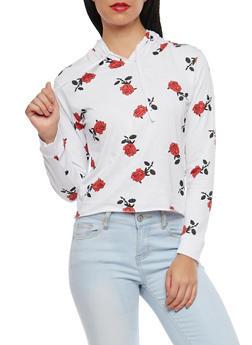 Rose Print Hooded Top - 1306033879117
