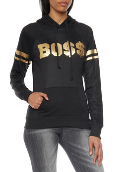 Hoodie with Metallic Boss Graphic - 1306038341512