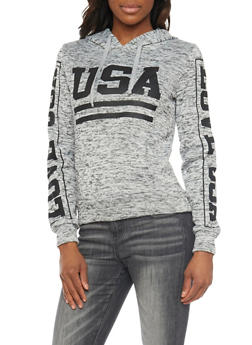Marled Hoodie with USA Graphic - 1306038341522