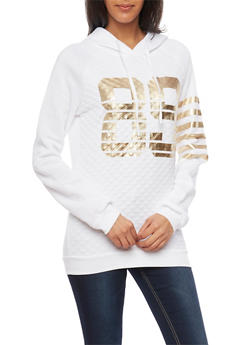 Quilted Front Hoodie with 89 Foil Graphic - 1306038341533