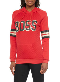 Quilted Hoodie with Boss Graphic - 1306038341534