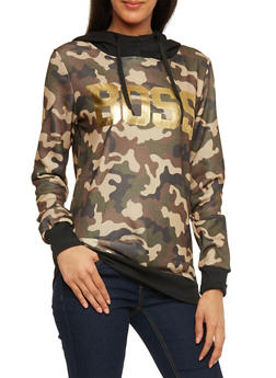 Graphic Hoodie with Contrast Rib Knit Trim - OLIVE - 1306038341550