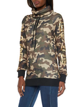 Funnel Neck Sweatshirt with Love Foil Print - OLIVE - 1306038341551