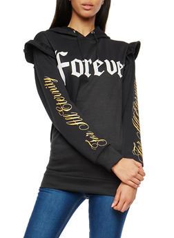 Forever Graphic Ruffle Hooded Sweatshirt - 1306038342541