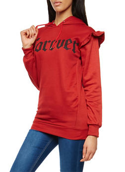 Forever Graphic Ruffle Hooded Sweatshirt - 1306038342541