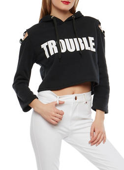 Trouble Maker Graphic Cold Shoulder Sweatshirt - 1306051060027
