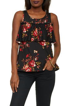 Floral Cold Shoulder Top with Ruffle Panel - 1306067332603