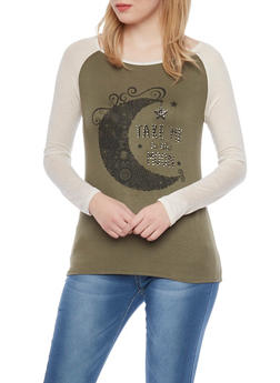 Long Sleeve Raglan Top with Take me to the Moon Graphic - 1306067336256