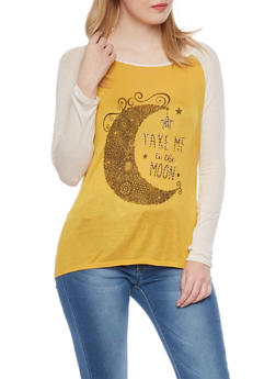 Long Sleeve Raglan Top with Take me to the Moon Graphic - MUSTARD/OATMEAL - 1306067336256