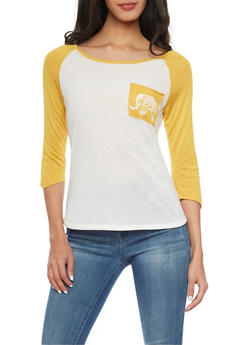 Three Quarter Sleeve Raglan Top with Elephant Graphic - 1306067339481