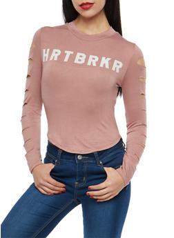 Slashed Sleeve HRTBRKR Graphic Top - 1306074290186
