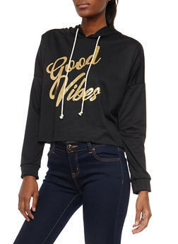 Good Vibes Graphic Cropped Hoodie - 1306074290188