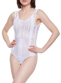 Open Back Sleeveless Laser Cut Bodysuit - WHITE - 1307038341047