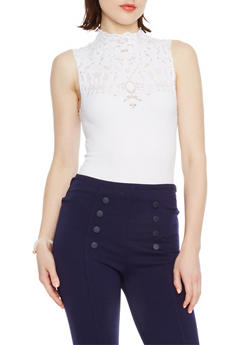 Mock Neck Bodysuit with Laser Cut Yoke - WHITE - 1307038341049
