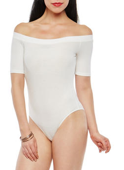 Rib Knit Off the Shoulder Bodysuit - 1307054266941