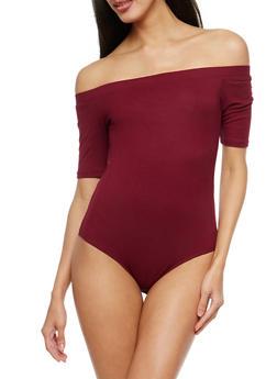 Rib Knit Off the Shoulder Bodysuit - 1307054266941
