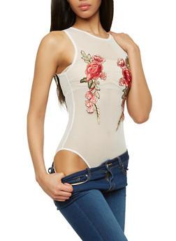 Rose Applique Mesh Bodysuit - 1307054268997