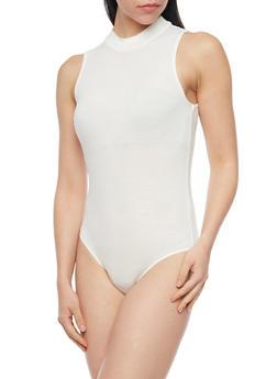 Sleeveless Rib Knit Mockneck Bodysuit - 1307054269416