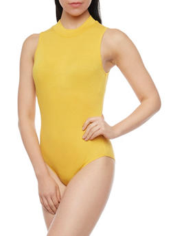 Sleeveless Rib Knit Mockneck Bodysuit - 1307054269416