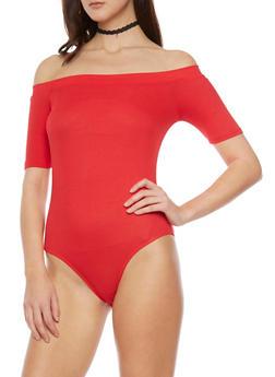 Off the Shoulder Rib Knit Bodysuit - 1307054269417