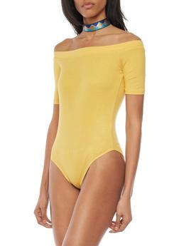 Off the Shoulder Rib Knit Bodysuit - MUSTARD - 1307054269417