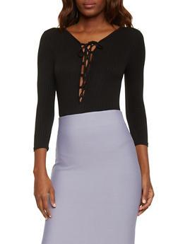Rib Knit Lace Up Long Sleeve Bodysuit - BLACK - 1307054269435