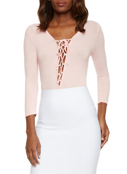 Rib Knit Lace Up Long Sleeve Bodysuit - BLUSH - 1307054269435