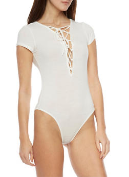Rib Knit Lace Up Front Bodysuit - OFF WHITE - 1307054269436