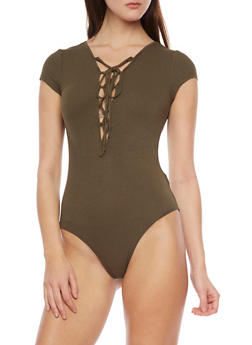 Rib Knit Lace Up Front Bodysuit - OLIVE - 1307054269436