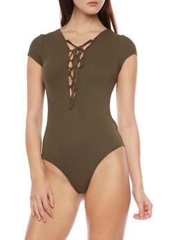 Rib Knit Lace Up Front Bodysuit - 1307054269436