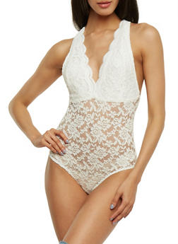 Sleeveless Scalloped Lace Bodysuit - 1307054269674