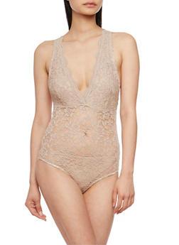 Sleeveless Scalloped Lace Bodysuit - 1307054269674