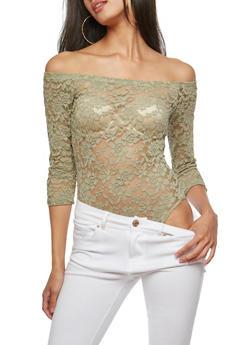 Off the Shoulder Lace Bodysuit - 1307054269933