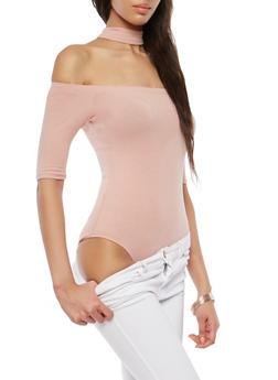 Off the Shoulder Choker Neck Bodysuit - 1307054269949