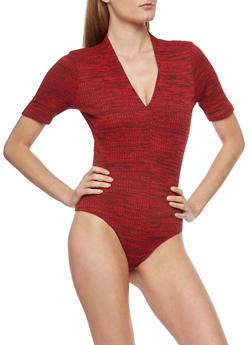 Marled Rib Knit Bodysuit - 1307058750136