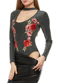 Floral Applique Shimmer Bodysuit - 1307058750433