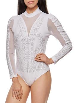 Studded Mesh Insert Bodysuit with Back Keyhole - WHITE - 1307058751323