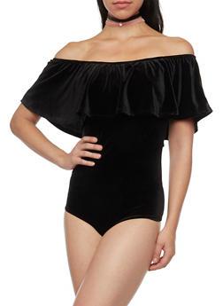 Off The Shoulder Bodysuit in Velvet - 1307058756941