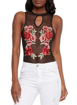 Sleeveless Mesh Bodysuit with Floral Applique - 1307058758105