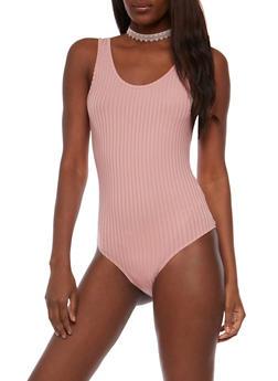 Sleeveless Rib Knit Bodysuit - 1307058758166
