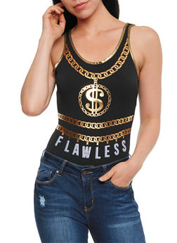 Flawless Graphic Sleeveless Bodysuit - 1307058759009