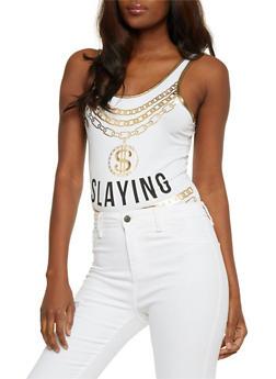 Slayin Foil Graphic Bodysuit - 1307058759010