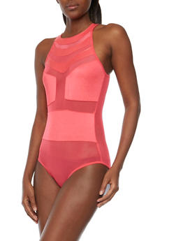 Mesh Panel Bodysuit with Cutout Back - 1307062905434