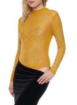 Mesh Bodysuit with Studded Design - MUSTARD - 1307067330126