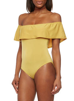 Off The Shoulder Ruffled Bodysuit - MUSTARD - 1307067330447