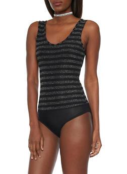 Scoop Neck Bodysuit with Shimmer Stripes - 1307067330475
