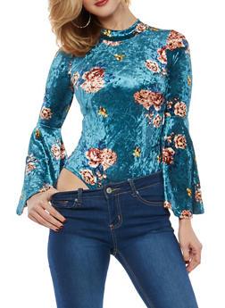 Floral Crushed Velvet Bodysuit - TEAL - 1307074290749